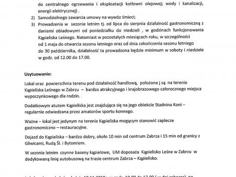 Oferta na dzierżawę terenu i lokalu na Kąpielisku Leśnym przy ul. Srebrnej 10 w Zabrzu